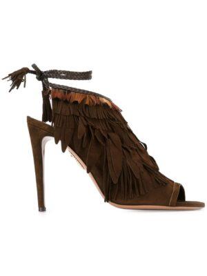 Aquazzura Peeptoe-Sandalen mit F sneakers (bruin)