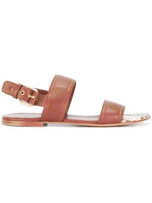 Casadei Sandalen mit Schlangenleder-Detail sneakers (bruin)