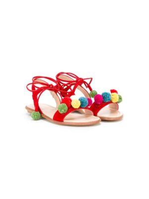 Aquazzura Mini Sandalen mit bunten Bommel sneakers (rood)
