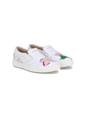 Philipp Plein Kids Slipper mit Blumen-Stickerei sneakers (overige kleuren)