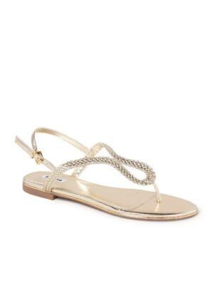 Longley gevlochten sandaal met metallic finish