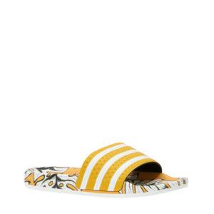 adidas Adilette W badslippers geel/wit print (Geel)