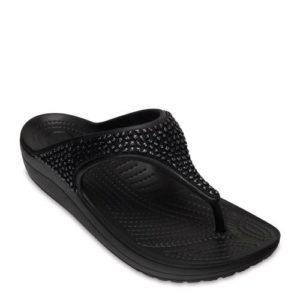 Crocs Sloane teenslippers met siersteentjes zwart (Zwart)