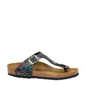 Birkenstock Gizeh slippers met metallics (Zwart)