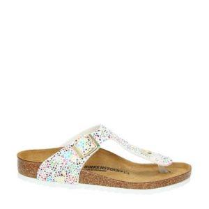 Birkenstock Gizeh slippers met metallics (Wit)