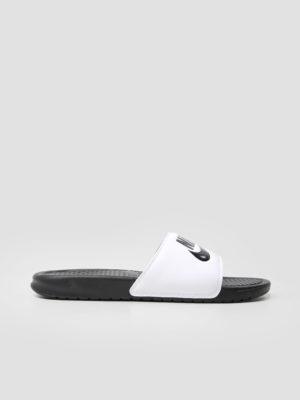"Nike Benassi ""Just Do It."" Sandal White/Black-Black 343880-100 (wit)"