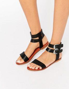 ASOS FLINT Leather Two Part sandalen 852301 (Zwart)
