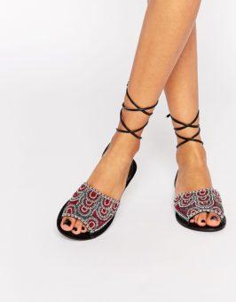 ASOS FRIENDSHIP Tie Leg Leather sandalen 771498 (Multicolor)