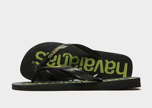Havaianas Logomania Flip Flops (Black/Yellow)